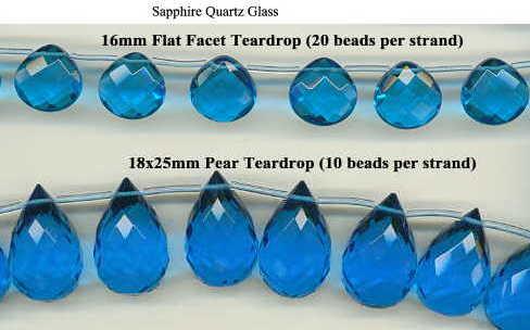 Aquamarine Quartz 15x20mm Faceted Teardrop Shape 16 Inches Strand !