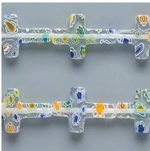 clear glass cross beads