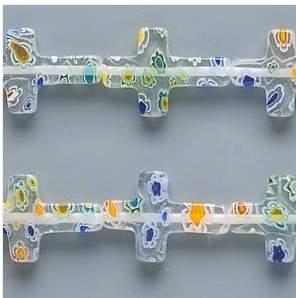 clear glass cross beads
