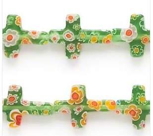 glass cross beads green