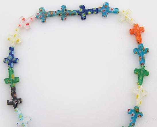 glass cross beads assorted